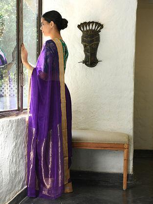 Purple Cotton Silk Saree with Zari