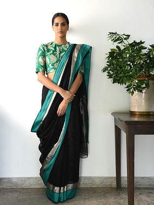Black-Blue Cotton Silk Saree with Zari