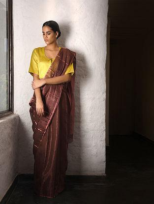 Brown Tissue Silk Saree with Zari