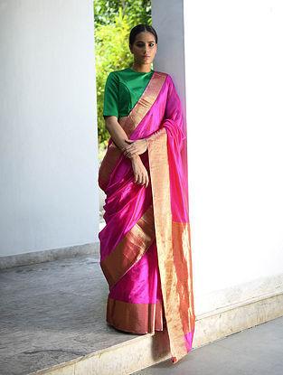 Pink Silk Saree with Zari