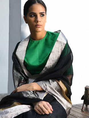 Black Cotton Silk Saree with Zari