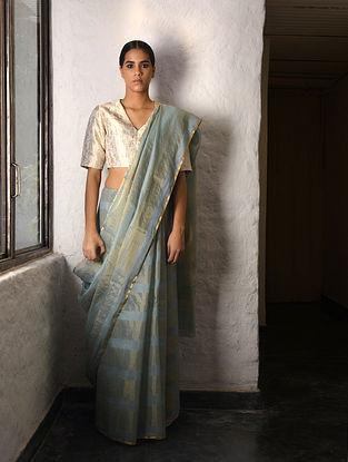 Grey Tissue Silk Saree with Zari