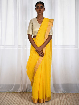 Yellow Cotton Silk Saree with Zari