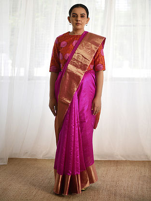 Purple Silk Saree with Zari