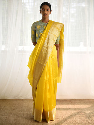 Yellow Silk Saree with Zari