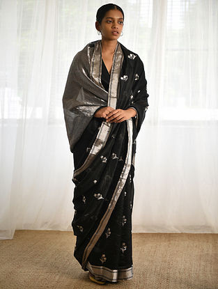 Black Silk Saree with Zari