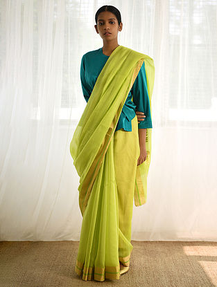 Lime Cotton Silk Saree with Zari