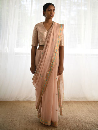 Pink Cotton Silk Saree with Zari