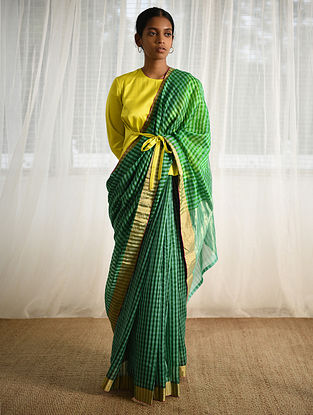 Green-Turquoise Cotton Silk Saree