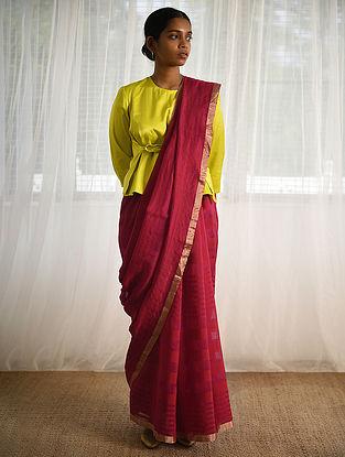 Red-Magenta Cotton Silk Saree