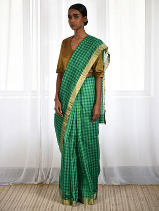 Green Cotton Silk Saree with Zari