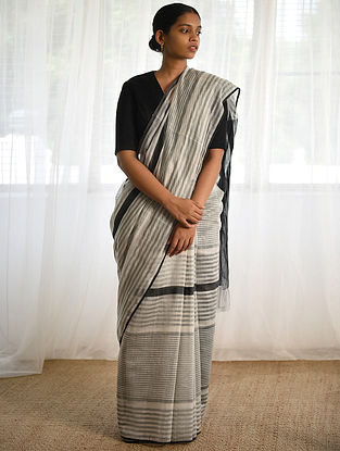 Black-White Cotton Silk Saree