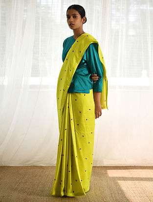 Lime Silk Saree