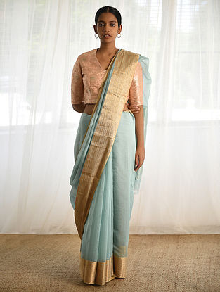 Turquoise Cotton Silk Saree with Zari
