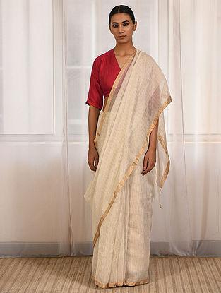 Ivory Cotton Silk Saree with Zari