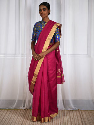 Magenta Cotton Silk Saree with Zari