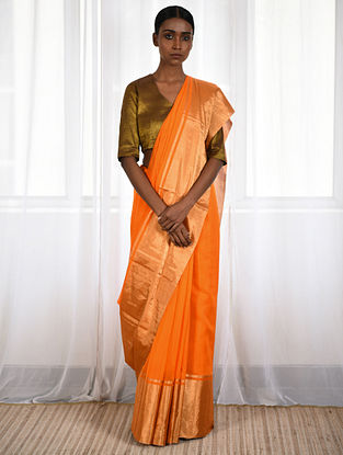 Orange Cotton Silk Saree with Zari