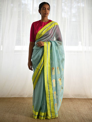 Turquoise-Yellow Cotton Silk Saree with Zari