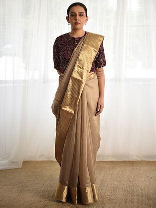 Beige Cotton Silk Saree with Zari