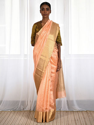 Peach Silk Saree with Zari