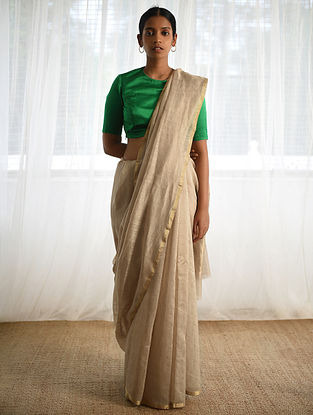 Beige Cotton Silk Saree with Zari