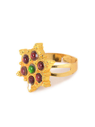 Red-Green Gold Plated Adjustable Temple Ring