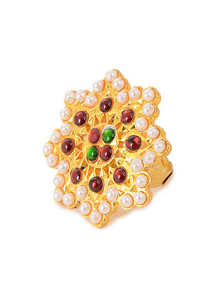 Red-Green Gold Plated Adjustable Temple Ring with Pearls