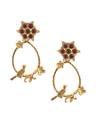 Red Green Gold Tone Temple Brass Earrings