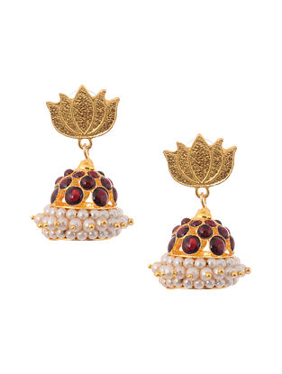 Red White Gold Tone Temple Brass Jhumkis