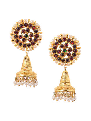 Red Green Gold Tone Temple Brass Jhumkis