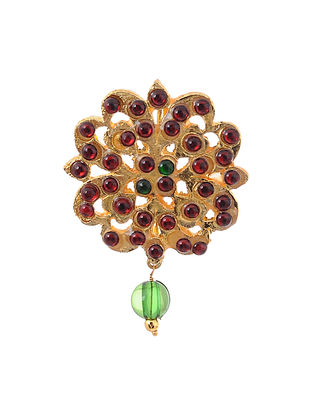 Red Green Gold Tone Temple Brass Brooch