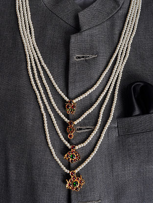 Maroon Gold Tone Mens Necklace with Pearls