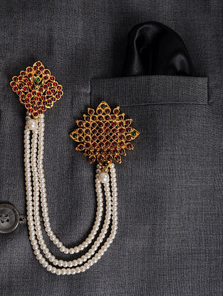 Maroon Green Gold Tone Brooch with Pearls