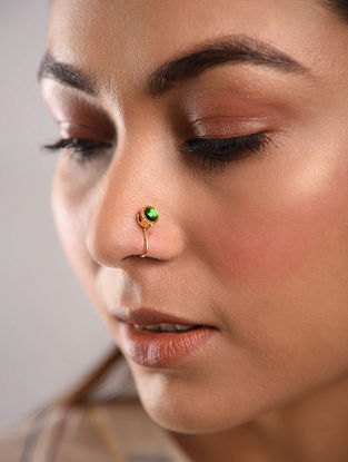 Green Gold Tone Temple Work Nose Clip