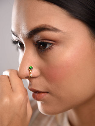 Green Gold Tone Temple Work Nose Clip With Pearl