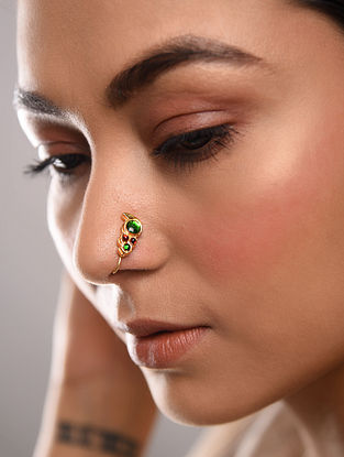 Green Red Gold Tone Temple Work Nose Clip