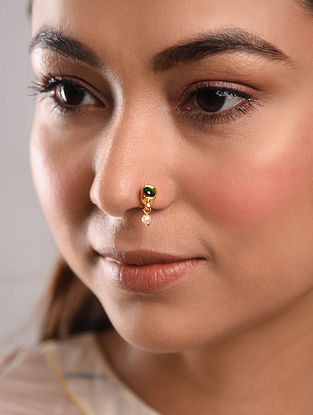 Green Gold Tone Temple Work Nose Pin With Pearl