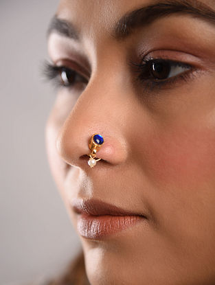 Blue Gold Tone Temple Work Nose Pin With Pearl