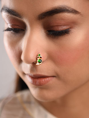 Green Red Gold Tone Temple Work Nose Pin