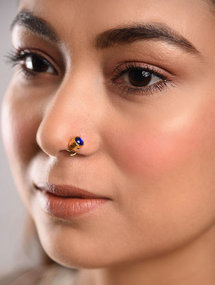 Blue Gold Tone Temple Work Nose Pin