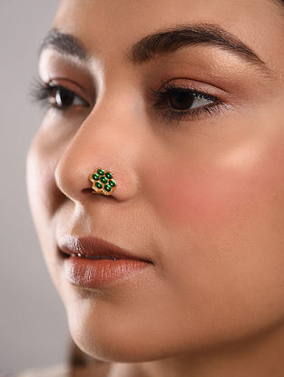 Green Gold Tone Temple Work Nose Pin