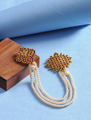 Maroon-Green Gold Tone Pearl Beaded Brooch For Men