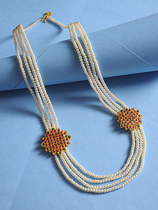 Maroon-Green Gold Tone Pearl Beaded Necklace For Men