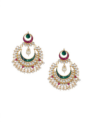 Green Pink Gold Tone Kundan Chaandbali Earrings with Pearls