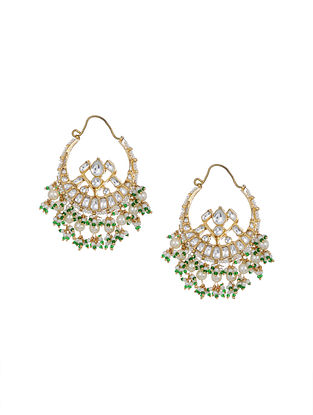 Green Gold Tone Kundan Chaandbai Earrings with Pearls