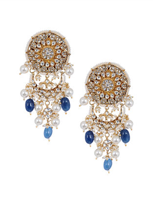 Blue Gold Tone Kundan Earrings with Pearls