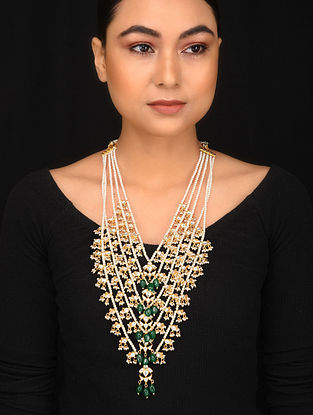 Green Gold Tone Kundan Pearl Beaded Layered Necklace