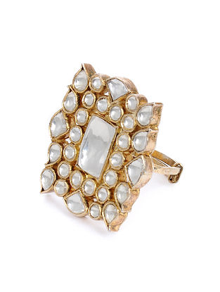 Gold Tone Kundan Adjustable Ring