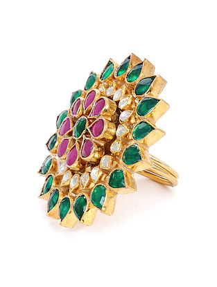 Pink Green Gold Tone Kundan Adjustable Ring
