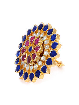 Blue Pink Gold Tone Kundan Adjustable Ring